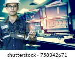double exposure of  engineer or ... | Shutterstock . vector #758342671