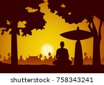 monk meditation sit on... | Shutterstock .eps vector #758343241