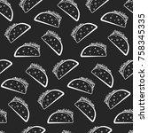 monochrome seamless pattern... | Shutterstock .eps vector #758345335