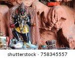 the hindu altar with the deity... | Shutterstock . vector #758345557