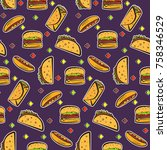 nice seamless pattern with... | Shutterstock .eps vector #758346529