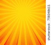 yellow pop art comic book style ... | Shutterstock .eps vector #758348611