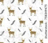 christmas pattern with cute... | Shutterstock .eps vector #758349475