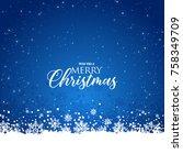 elegant christmas blue... | Shutterstock .eps vector #758349709