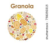 vector illustration of granola... | Shutterstock .eps vector #758350315