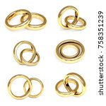 collection of gold wedding... | Shutterstock . vector #758351239
