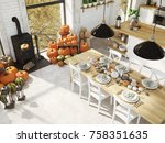 cosy nordic kitchen in an... | Shutterstock . vector #758351635