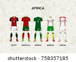 mockup of africa football... | Shutterstock .eps vector #758357185