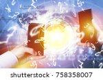 peer to peer payment concept... | Shutterstock . vector #758358007