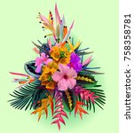 tropical flowers composition ... | Shutterstock .eps vector #758358781
