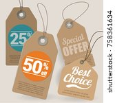 brown cardboard shopping  sale  ... | Shutterstock .eps vector #758361634
