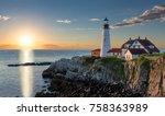 portland head light at sunrise... | Shutterstock . vector #758363989