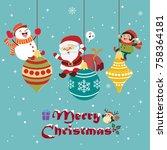 vintage christmas poster design ...   Shutterstock .eps vector #758364181