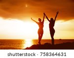 two happy girls having fun and... | Shutterstock . vector #758364631