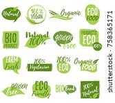 stickers and badges for organic ... | Shutterstock .eps vector #758365171
