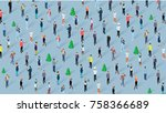 crowd of people celebrating... | Shutterstock .eps vector #758366689