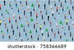 crowd of people celebrating... | Shutterstock .eps vector #758366689