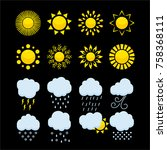 weather icons  set of bright... | Shutterstock .eps vector #758368111