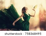 beautiful woman in a dress with ... | Shutterstock . vector #758368495