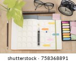 schedule diary notebook with... | Shutterstock . vector #758368891