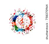 colorful music poster with... | Shutterstock .eps vector #758370964