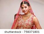indian bride in traditional... | Shutterstock . vector #758371801