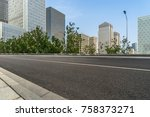 city empty traffic road with... | Shutterstock . vector #758373271