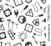 electricity seamless pattern... | Shutterstock .eps vector #758379421