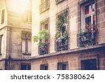 traditional french architecture ... | Shutterstock . vector #758380624
