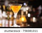 fresh tall glass of tropical... | Shutterstock . vector #758381311