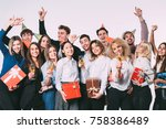 group of people having a party... | Shutterstock . vector #758386489