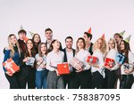 holidays concept. group of... | Shutterstock . vector #758387095