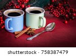 cups of fragrant coffee on a... | Shutterstock . vector #758387479
