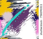 splash brush strokes seamless... | Shutterstock .eps vector #758390311