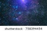 blue dark night sky with many... | Shutterstock . vector #758394454