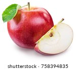 ripe red apple with piece of...   Shutterstock . vector #758394835