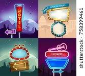 set of retro illustrations of... | Shutterstock .eps vector #758399461