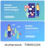 banners on topic mobile... | Shutterstock .eps vector #758401234