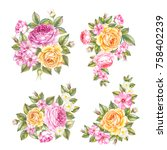 vintage set of roses garland.... | Shutterstock . vector #758402239