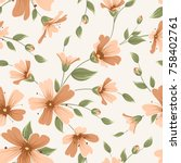 crimson maroon rouge gypsophila ... | Shutterstock .eps vector #758402761