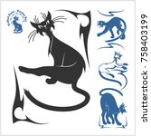 tribal cats for tattoo   vector ... | Shutterstock .eps vector #758403199