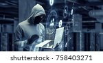 computer privacy attack. mixed... | Shutterstock . vector #758403271