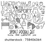 set of sport illustration hand... | Shutterstock .eps vector #758406364