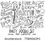 set of party illustration hand... | Shutterstock .eps vector #758406391
