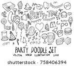 set of party illustration hand... | Shutterstock .eps vector #758406394