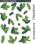 winter set of green fir and... | Shutterstock .eps vector #758408569