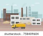 building factory industry zone. ... | Shutterstock .eps vector #758409604