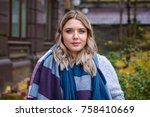 a woman of plus size  american... | Shutterstock . vector #758410669