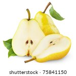 Isolated Pears. Yellow Pear...