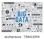 big data   hand drawn vector... | Shutterstock .eps vector #758413594